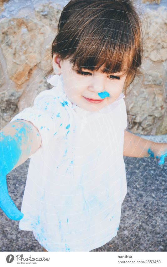 Little girl dirty of paint Lifestyle Style Joy Leisure and hobbies Playing Parenting Kindergarten Child School Human being Feminine Toddler Girl Infancy 1