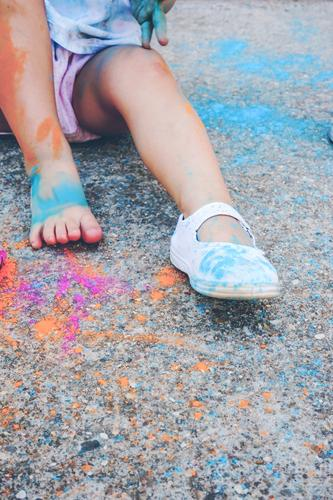 Little girl dirty of paint Lifestyle Style Joy Happy Playing Parenting Education Kindergarten Child School Human being Toddler Girl Woman Adults