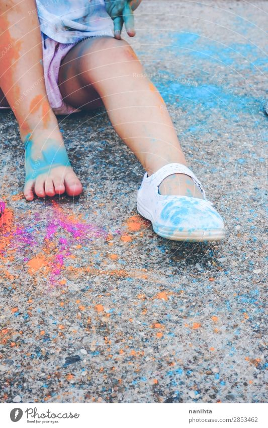 Little girl dirty of paint Woman Child Human being Colour Joy Girl Lifestyle Legs Adults Funny Emotions Family & Relations Happy Style Art