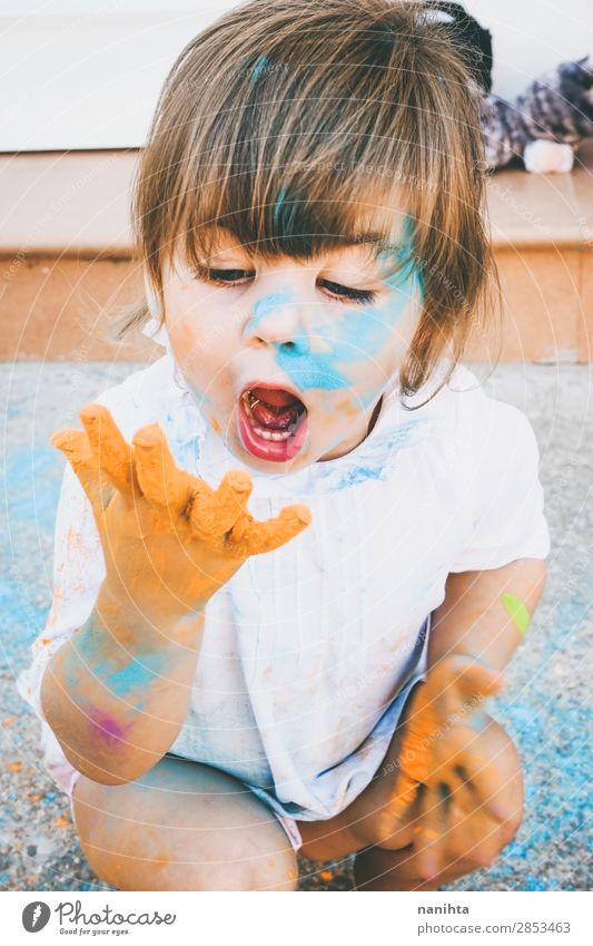 Little girl dirty of paint Child Human being Colour Joy Girl Lifestyle Funny Feminine Emotions Happy Style Art Playing School Moody