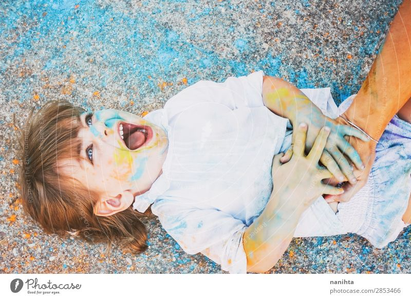 Little girl dirty of paint Child Human being Colour Joy Girl Lifestyle Funny Feminine Emotions Family & Relations Laughter Happy Style Art Playing