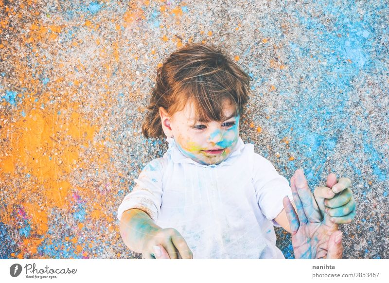 Little girl dirty of paint Child Human being Colour Joy Girl Lifestyle Funny Feminine Emotions Family & Relations Style Art Playing School Moody