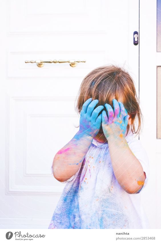 Little girl dirty of paint Lifestyle Style Joy Happy Leisure and hobbies Playing Parenting Kindergarten Child School Human being Feminine Toddler Girl Infancy 1
