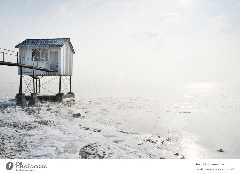 Blue White House (Residential Structure) Coast Bright Ice Beautiful weather Frost Lakeside Hut Whimsical Lake Constance