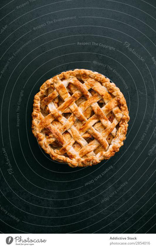 Homemade apple pie American Apple Autumn Bakery Cake Cinnamon Dessert Flour Food Fresh Fruit Gold Home-made overhead Baked goods Pie Rustic Slate Sugar Sweet
