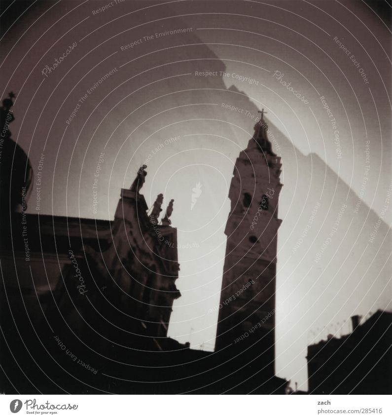 Old City House (Residential Structure) Black Dark Architecture Building Tourism Church Tower Italy Crucifix Analog Double exposure Tourist Attraction Dome