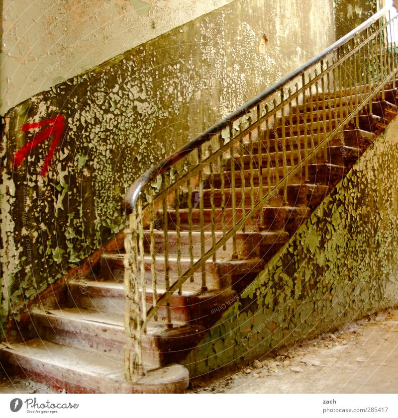Old Green House (Residential Structure) Wall (building) Architecture Wall (barrier) Building Facade Stairs Living or residing Broken Transience Arrow Banister