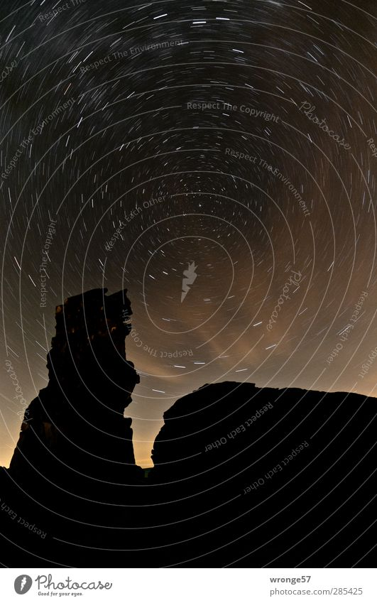 Howling Dog II Nature Landscape Sky Night sky Stars Hill Rock Mountain Harz Dark Black Infinity star trails Starry sky star orbit Silhouette Tripod
