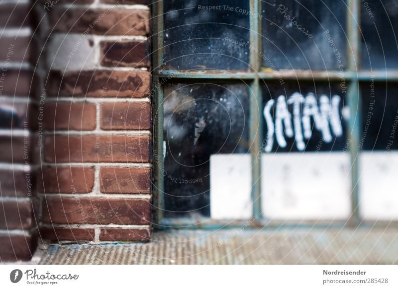 City House (Residential Structure) Window Dark Graffiti Wall (building) Architecture Wall (barrier) Religion and faith Building Fear Facade Characters Threat Sign Factory