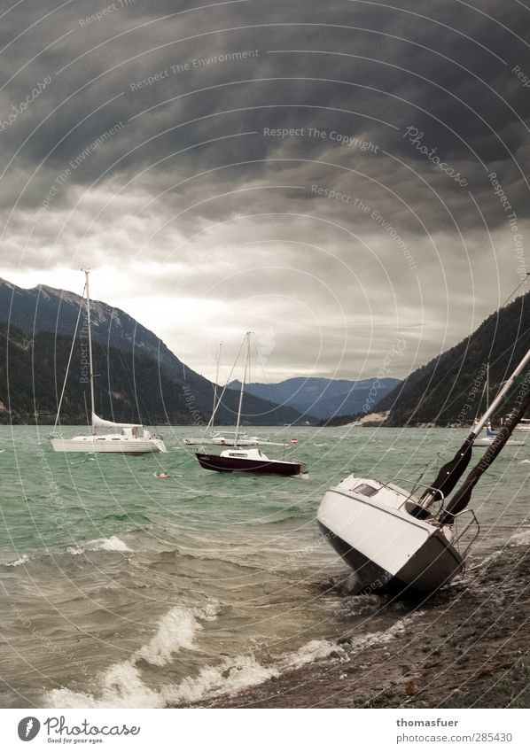 Sky Water Green Clouds Landscape Mountain Gray Waves Wind Adventure Threat Alps Lakeside Storm Bay Sailing