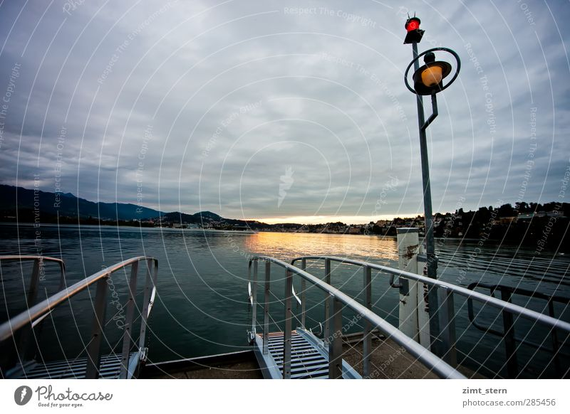 The ferry doesn't come any more Vacation & Travel Trip Clouds Night sky Horizon Sunrise Sunset Lakeside Lucerne Switzerland Lake Lucerne Lantern Lamp post
