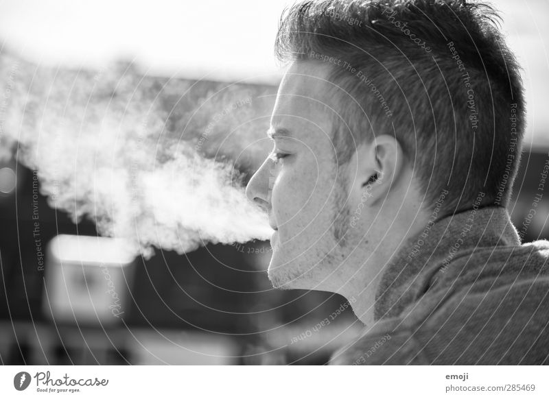 ~ Masculine Young man Youth (Young adults) Head 1 Human being 18 - 30 years Adults Short-haired Facial hair Cool (slang) Smoking Smoke Black & white photo