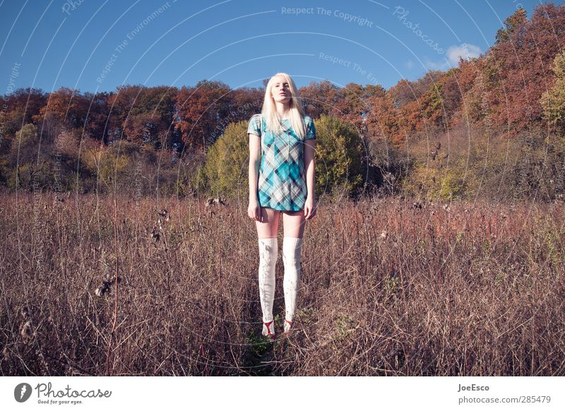 #245640 Adventure Far-off places Freedom Summer Woman Adults 1 Human being 18 - 30 years Youth (Young adults) Nature Landscape Meadow Fashion Dress Blonde