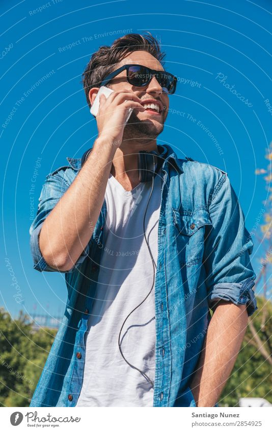 Urban smart casual handsome young man talking on smartphone. Adults Attractive Beautiful Beauty Photography To call someone (telephone) Easygoing Caucasian