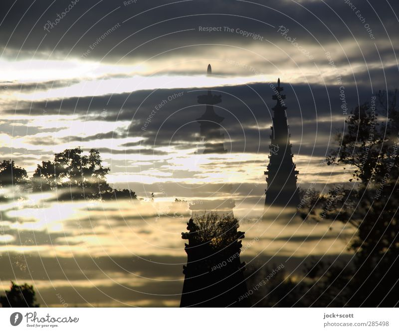 National monument for the wars of liberation in twilight Sculpture Sky Clouds Tree Column Tourist Attraction Landmark Monument Historic Double exposure Abstract
