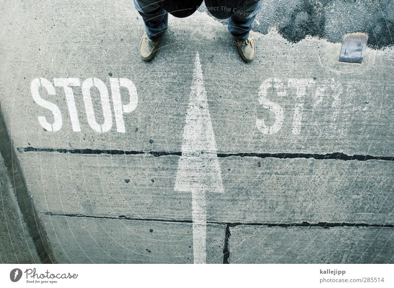 Human being Man Adults Street Life Gray Legs Feet Masculine Stand Concrete Stop End Arrow Traffic infrastructure Direction