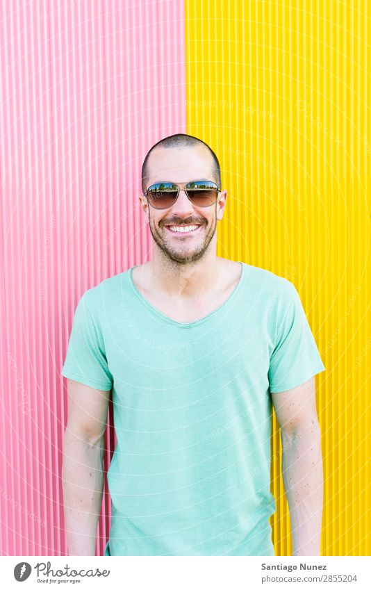 Handsome Man Portrait smiling. Human being Youth (Young adults) Take Lifestyle Happy Portrait photograph Modern City Exterior shot handsome Sunglasses Student