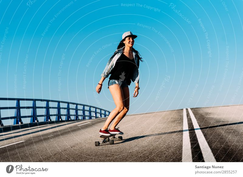 Beautiful skater woman riding on her longboard. Girl Woman Ice-skating Town Youth (Young adults) Sports Skateboarding Longboard Style Ice-skates Happy Smiling