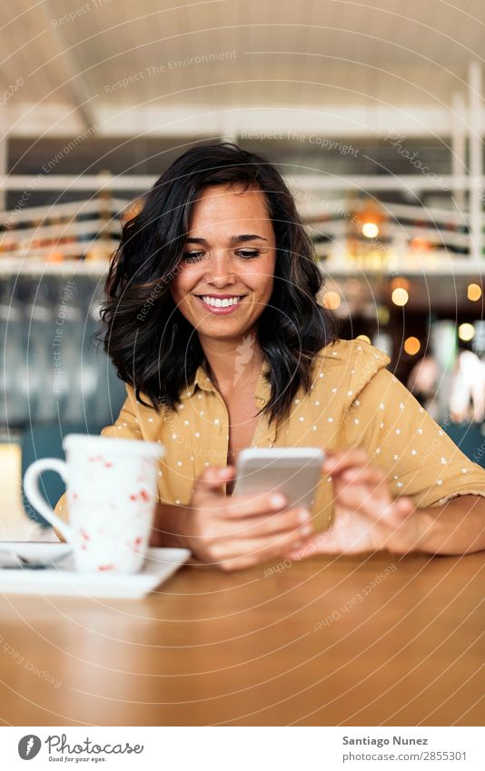 Portrait of beautiful woman using mobile. Woman Café Break Coffee Sit Telephone Business 1