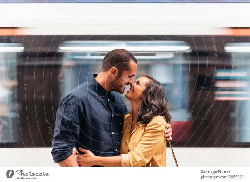 Smiling couple of lovers kissing. Woman Date Love Embrace Kissing Man Girl Youth (Young adults) Romance Couple City Happiness Happy Human being Together
