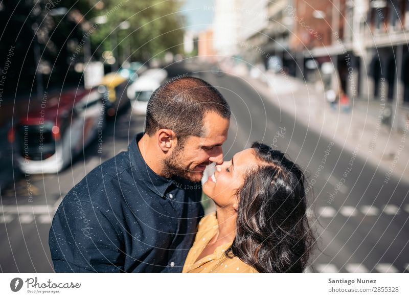 Smiling couple of lovers having fun. Woman Date Love Embrace Kissing Man Girl