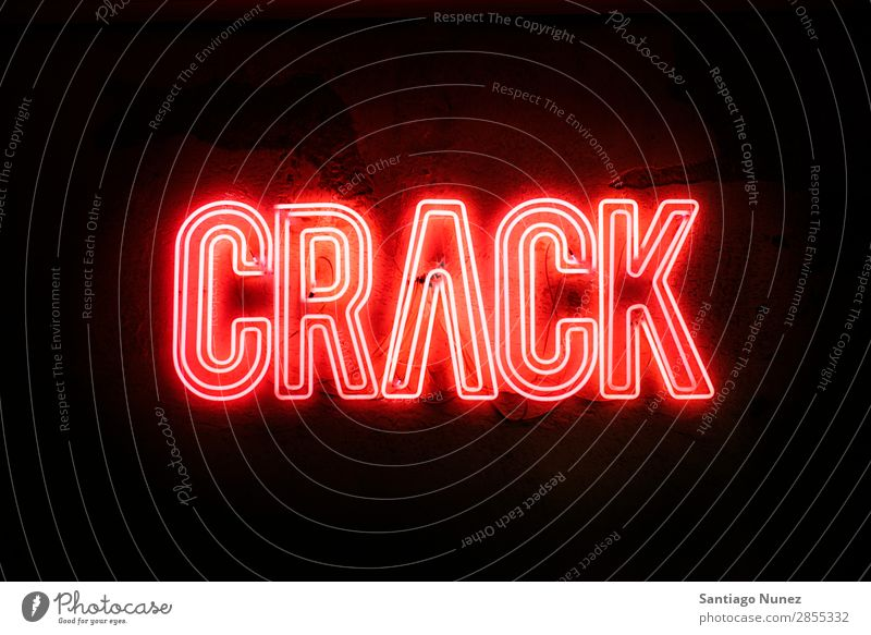Neon sign on a wall - Crack Crack & Rip & Tear lider Break Broken Glow Sign Design Light Electric Wall (building) Red Night life Letters (alphabet)