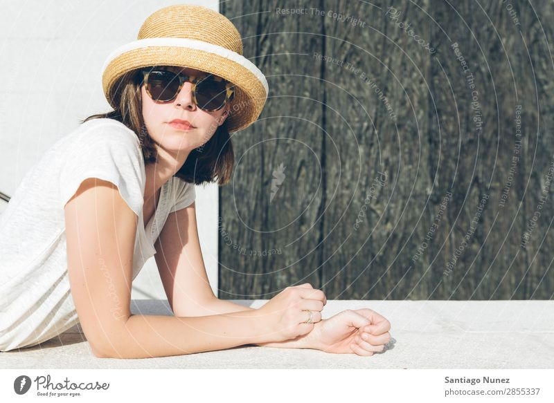 young casual girl wearing a hat and sunglasses Adults Beautiful Beauty Photography Easygoing Caucasian Fashion Woman Flirt Girl Person wearing glasses Hat