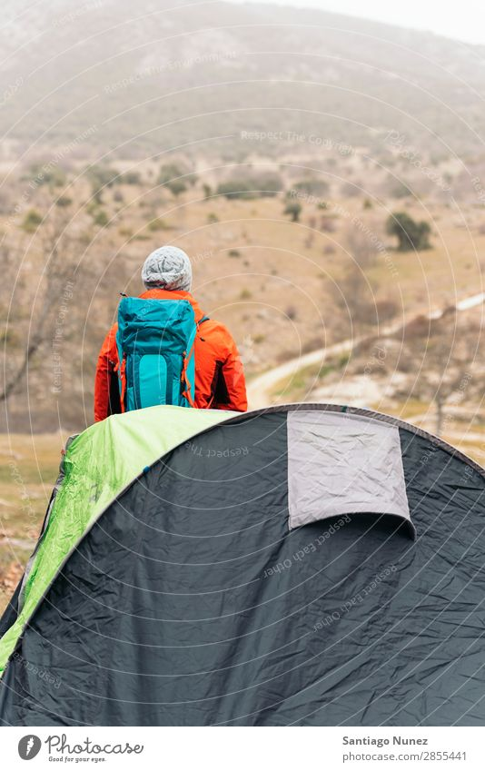 Young Backpacker enjoying of Nature. Hiking hiker trekking alpininsm Mountaineer Walking Tent Expedition Youth (Young adults) Sports Vacation & Travel Man