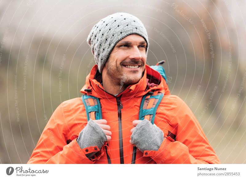 Young Backpacker enjoying of Nature. Hiking hiker trekking Portrait photograph alpininsm Mountaineer Walking Expedition Youth (Young adults) Sports