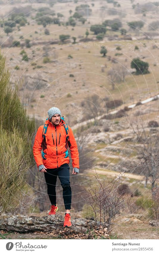 Young Backpacker enjoying of Nature. Hiking hiker trekking alpininsm Mountaineer Walking Expedition Youth (Young adults) Sports Vacation & Travel Man