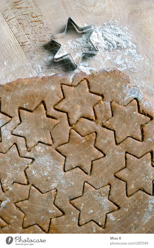 Christmas & Advent Wood Brown Food Nutrition Sweet Star (Symbol) Cooking & Baking Delicious Baked goods Dough Cookie Flour Christmas biscuit
