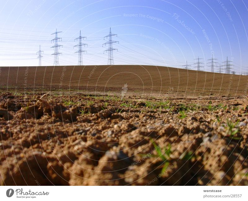 Landscape with power pylons Brown Hill Electricity pylon Wide angle Floor covering Cable Sky Earth