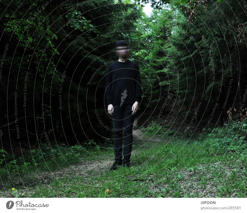 blur Human being Masculine Young man Youth (Young adults) Body 1 18 - 30 years Adults Tree Forest Looking Stand Exceptional Threat Dark Green Black Loneliness