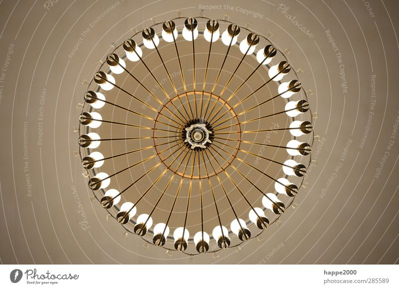 chandelier Art Chandelier Candlestick Lamp Brown Gold Colour photo Subdued colour Interior shot Detail Deserted Upward