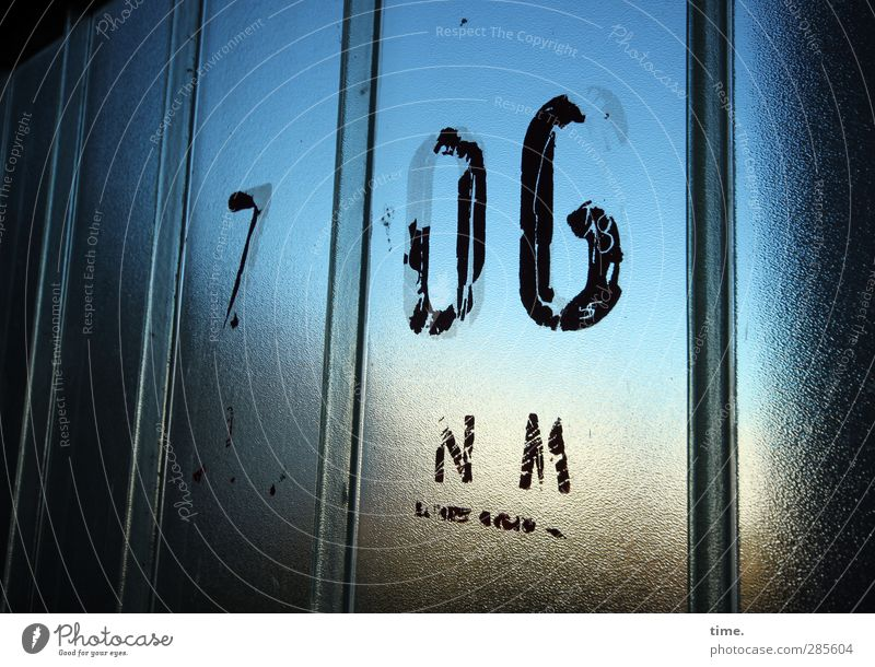 Blue City Window Architecture Building Horizon Glass Arrangement Design High-rise Characters Perspective Signage Gloomy Broken Digits and numbers