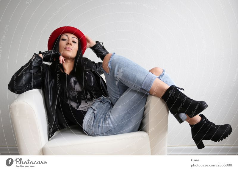 nastya Armchair Room Feminine Woman Adults 1 Human being T-shirt Jeans Jacket Gloves Boots Hat Black-haired Long-haired Observe To hold on Looking Sit