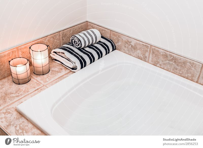 Bathroom with cozy lanterns Lifestyle Luxury Design Beautiful Body Wellness Relaxation Spa Interior design Lamp Bathtub Lightning Candle Stripe Simple Modern