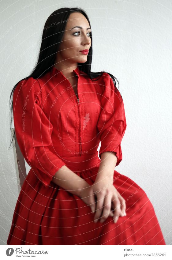 nastya Chair Feminine Woman Adults 1 Human being Dress Black-haired Long-haired Observe Think To hold on Looking Wait Beautiful Moody Self-confident