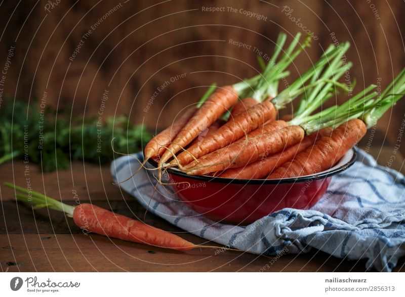 Still Life with Carrots Food Vegetable Nutrition Organic produce Vegetarian diet Crockery Bowl Dish towel Wood Metal Firm Fresh Healthy Delicious Natural Retro