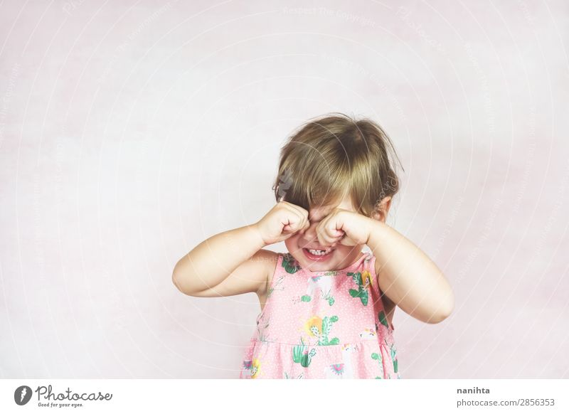 Sad blonde little girl Parenting Child Human being Feminine Toddler Girl Infancy 1 1 - 3 years Dress Blonde Sadness Cry Authentic Small Cute Pink White Emotions
