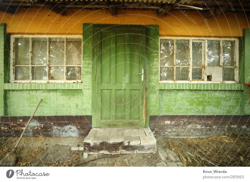 green is the hope House (Residential Structure) Manmade structures Building Architecture Facade Window Door Dirty Green Poverty Decline Transience