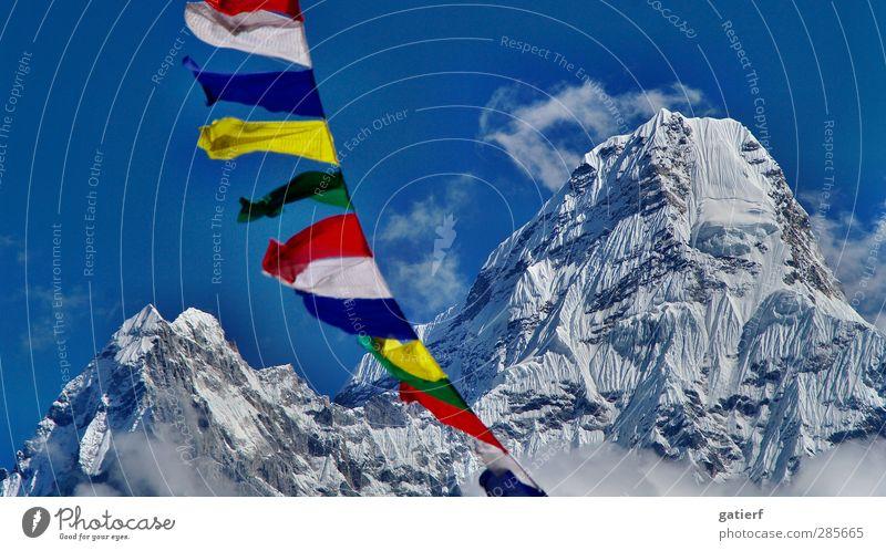 Sky Nature Landscape Mountain Dream Beautiful weather Peak Eternity Peace Snowcapped peak Glacier Nepal Himalayas Prayer flags