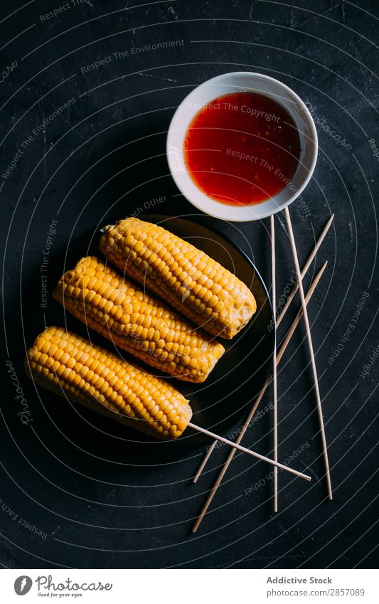 Raw corn Barbecue (event) BBQ bunch Butter cob Cooking Food Bird's-eye view Herbs and spices mayo Meal Mexicans Roasted Rustic Sauce Spicy Table Tasty Vegetable