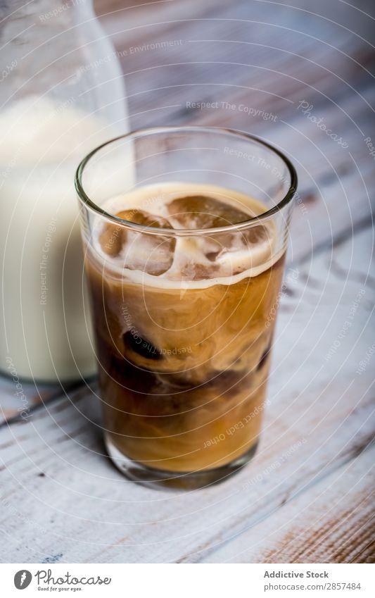 Iced coffee with milk Brown Caffeine Coffee Cold Cream Drinking Espresso Food Glass Hot Latte macchiato Milk Sugar Table