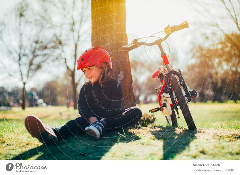 Girl resting after riding her bike Bicycle Caucasian Child Landscape Cute Joy