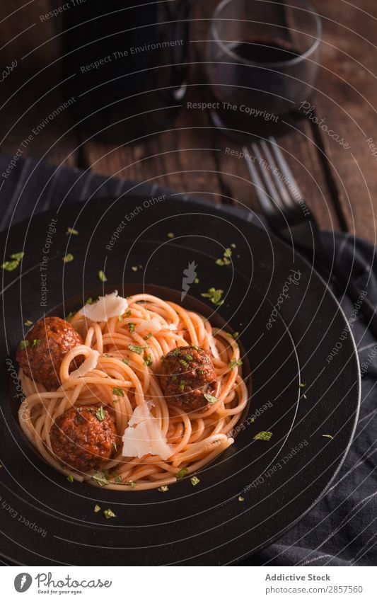 Spaghetti with meatballs and tomato sauce Ball Beef Cheese Cooking Delicious Dish To feed Food Gourmet Home-made Ingredients Italian Lunch Meal Meat minced