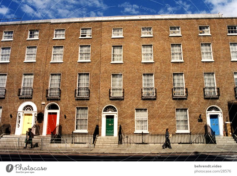 Green Blue Red House (Residential Structure) Yellow Window Stone Building Architecture Door Brick Ireland Front side Dublin Doorframe Brick-built house