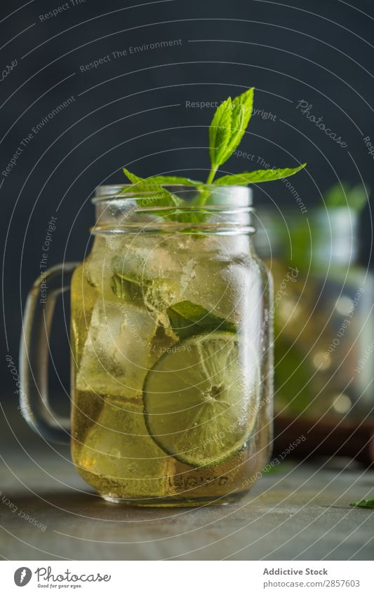 Mojito in mason jar on grunge table Alcoholic drinks barman bartender Beverage Cocktail Drinking Food Fresh garnish Gin Glass Juice Lemon Lime Mint mixologist