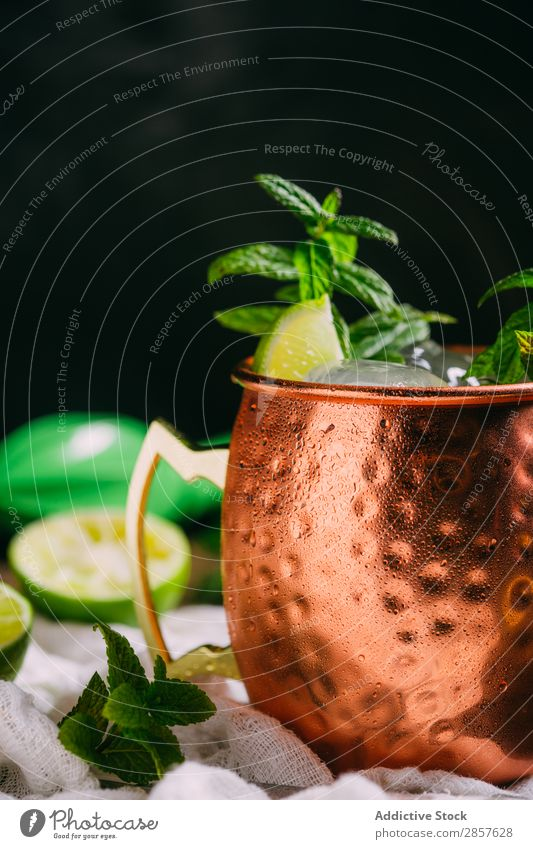 Moscow mule Alcoholic drinks Bar Beverage Cocktail Cold Condensation Copper Drinking Fresh Frost Ginger ginger beer Ice Lime Mug Mule Vodka Wood