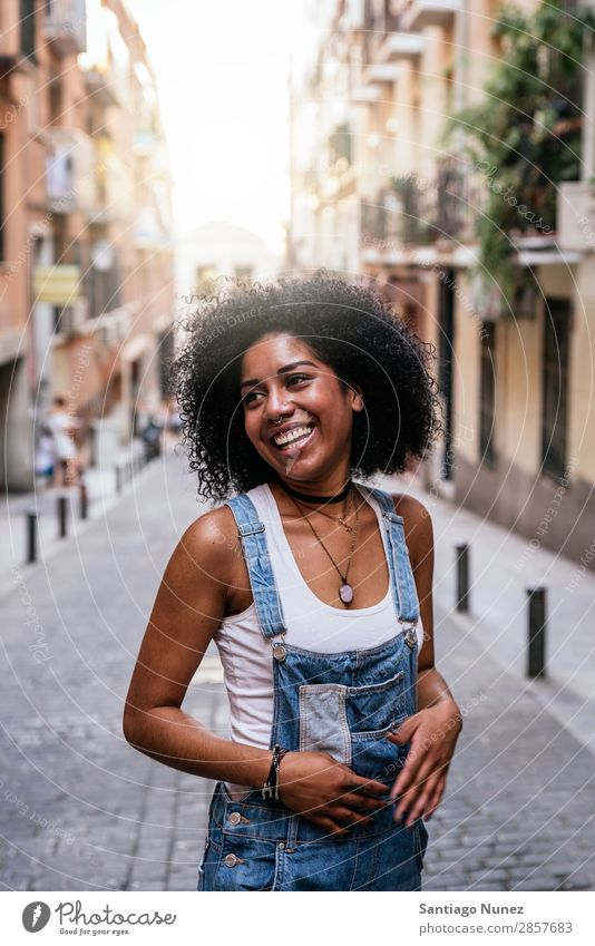 Portrait of a beautiful black woman. Woman Black African Afro Human being Portrait photograph City Youth (Young adults) Girl American Smiling Happy Fashion